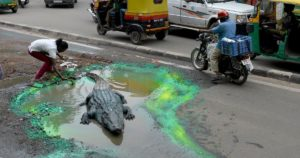 Street art in shape of crocodile